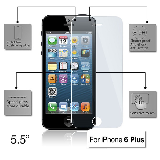 Product image for Tempered Glass Screen Protector for 5.5 inch Apple iPhone 6 Plus | AusPCMarket Australia