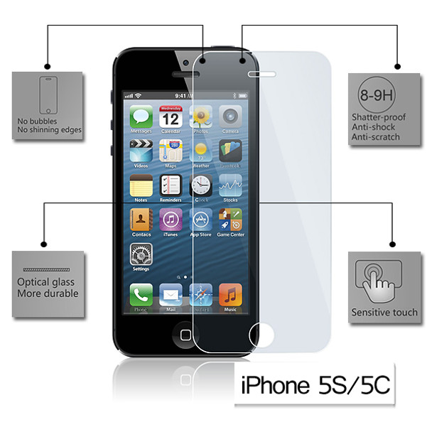 Product image for Tempered Glass Screen Protector for Apple iPhone 5/5C/5S   AusPCMarket Australia