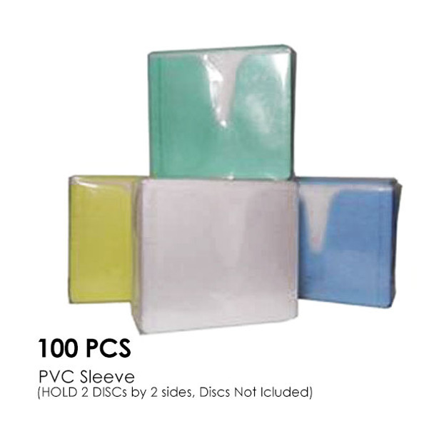 Product image for CD-DVD Colour PVC Sleeve Hold 2 Disc (Double Sided / 100PCS/Pack) | AusPCMarket Australia