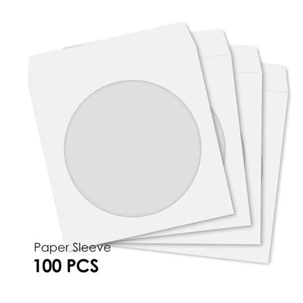 Product image for CD-DVD Paper Sleeve with Windows Hold 1 Disc  (100PCS/Pack)   AusPCMarket Australia
