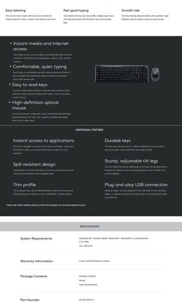 Logitech MK200 Desktop Keyboard and Mouse Combo Product Image 5