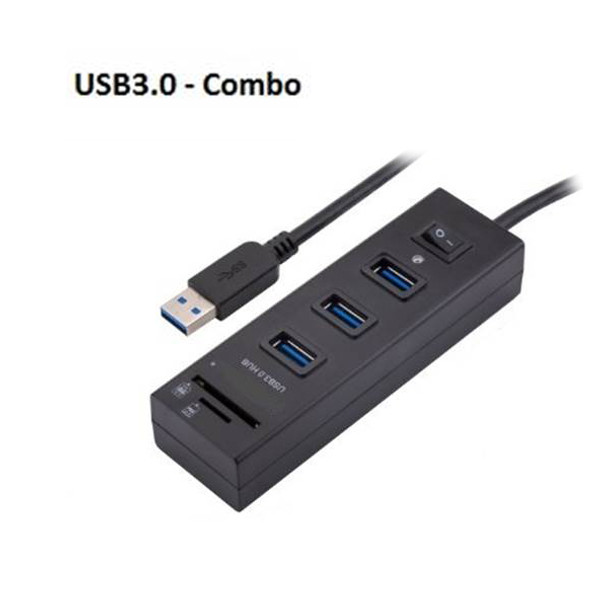 Product image for USB3.0 HUB 3 Port with Switch + card Reader   AusPCMarket Australia