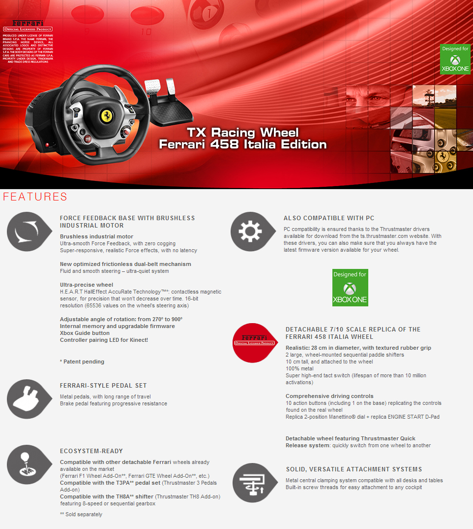 Thrustmaster TX Racing Wheel Ferrari 458 Italia Edition - Xbox One/PC