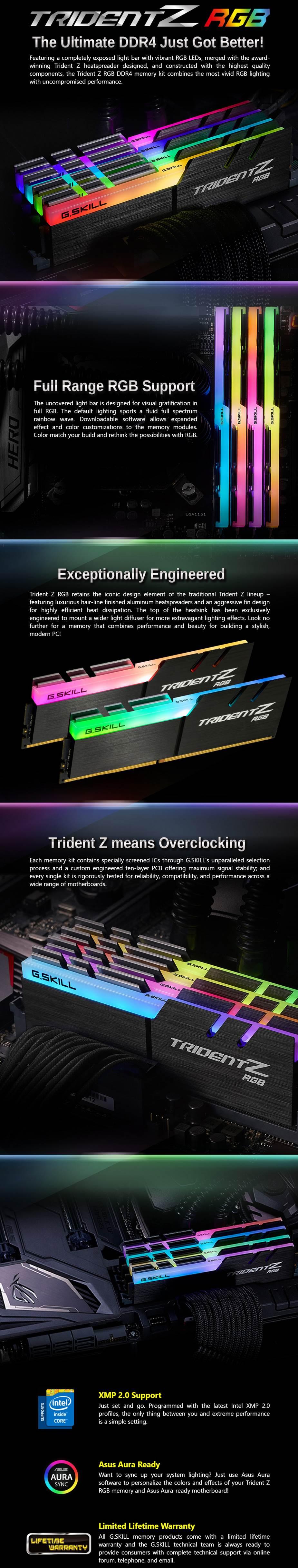 G Skill Trident Z RGB 32GB (2x 16GB) DDR4 3600Mhz Memory