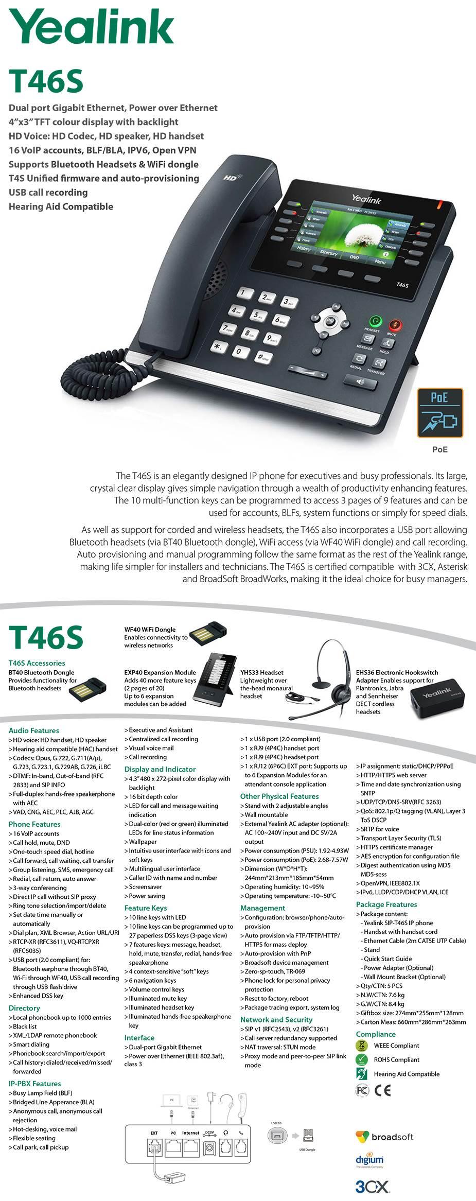 Yealink SIP-T46S 6 Line IP Phone