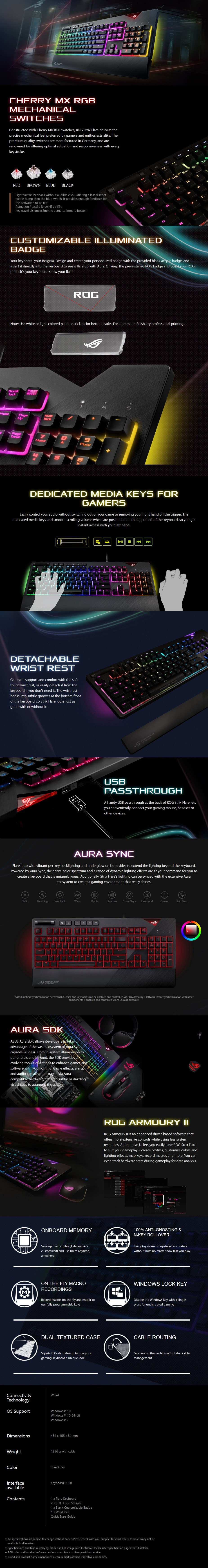 Asus ROG Strix Flare RGB Mechanical Gaming Keyboard - Cherry MX Brown