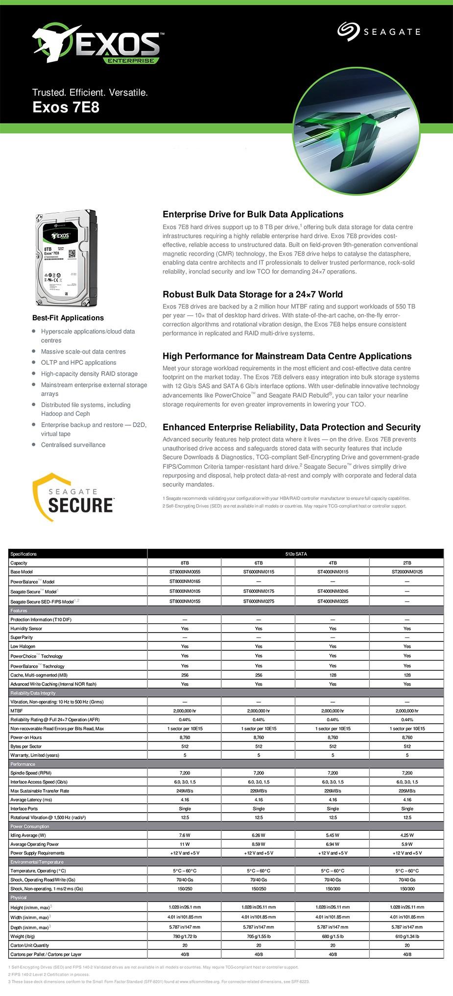 Seagate 8TB Exos 7E8 3 5in 512e SATA Secure Enterprise Hard Drive