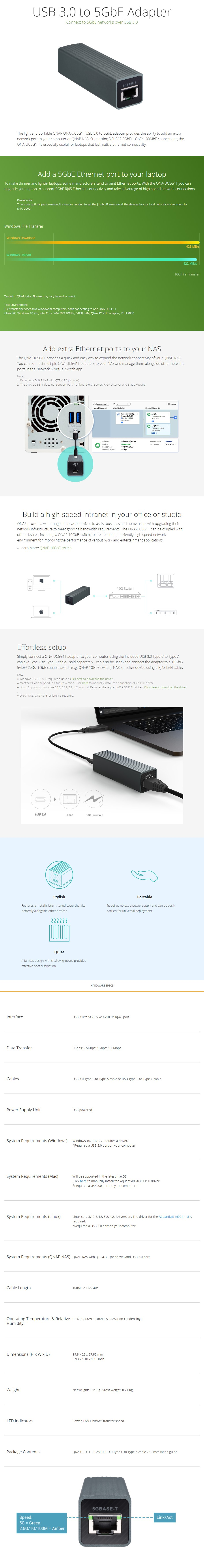 QNAP QNA-UC5G1T USB 3 0 to 5GbE Adapter