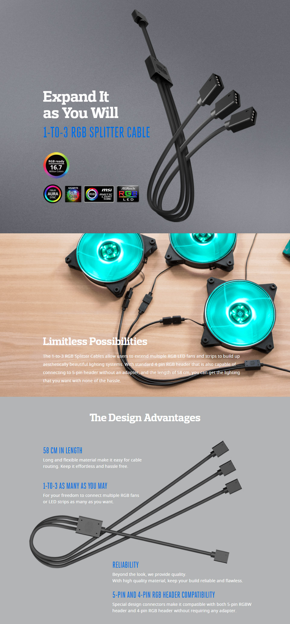 Cooler Master 1-To-3 RGB Splitter Cable