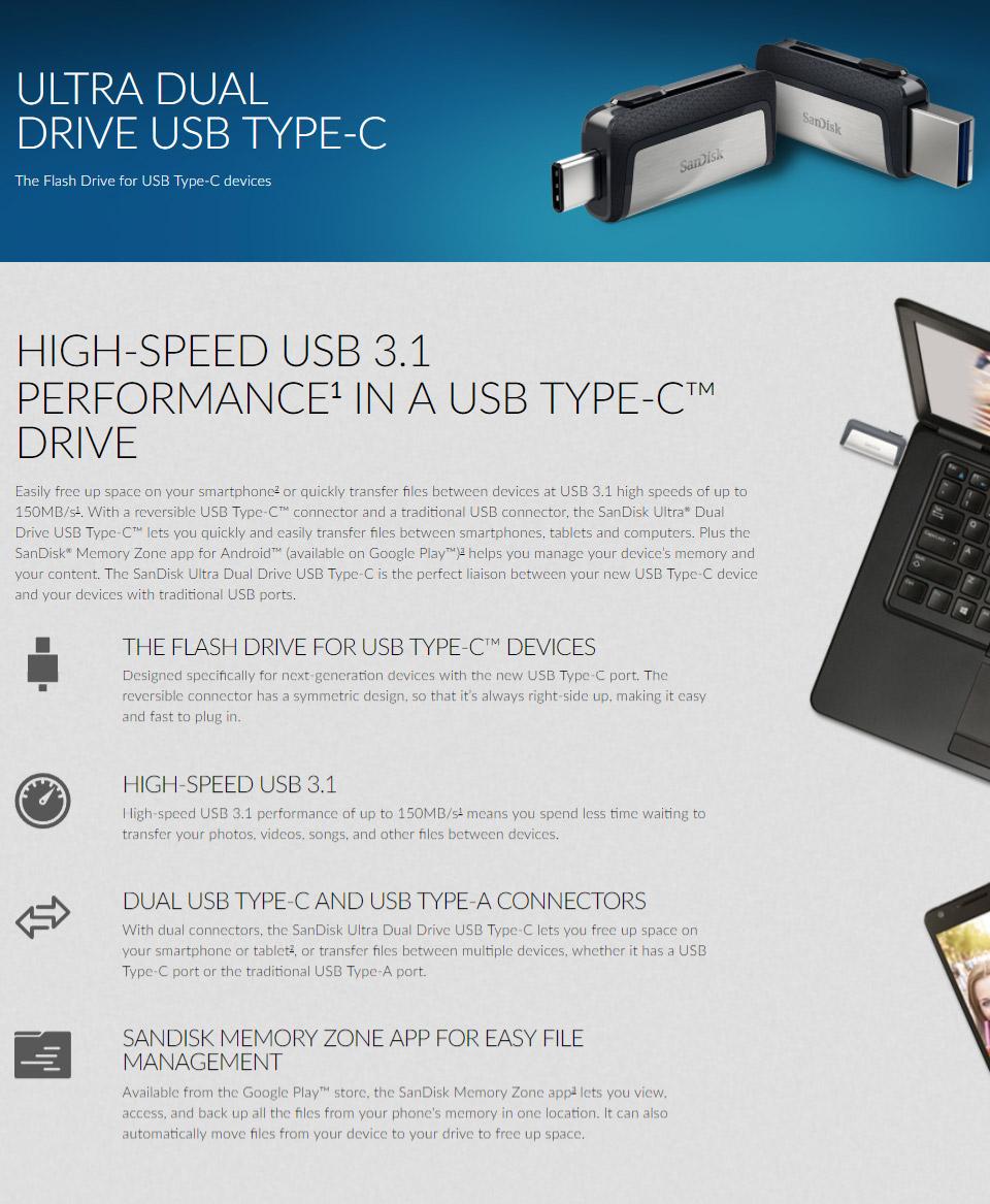 SanDisk USB 64GB Ultra Dual OTG Type-C 150MB//s USB Flash Drive New ct