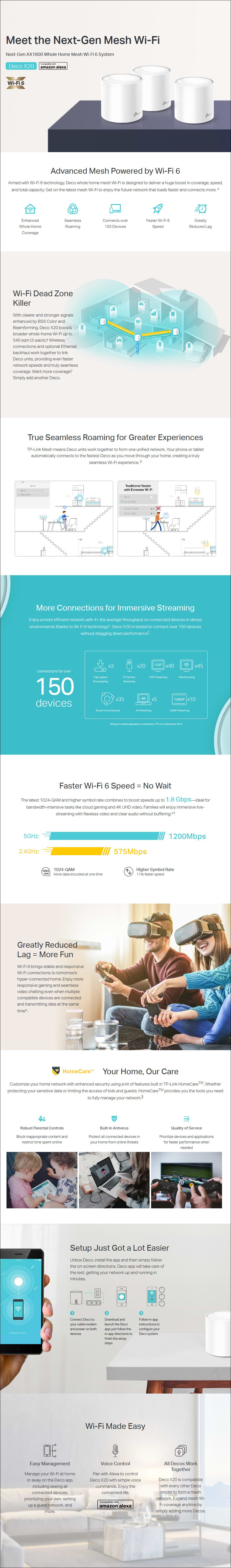TP-Link Deco X20 AX1800 Whole Home Mesh Wi-Fi System - 3-Pack - Deco X20(3-pack) | AusPCMarket