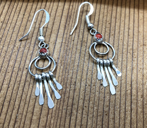 Sterling Silver drop earrings with Red Coral stone above 2 circle hoops and 5 paddle dangles.