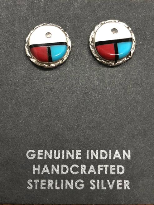 Small Sunface Zuni Post Earrings.