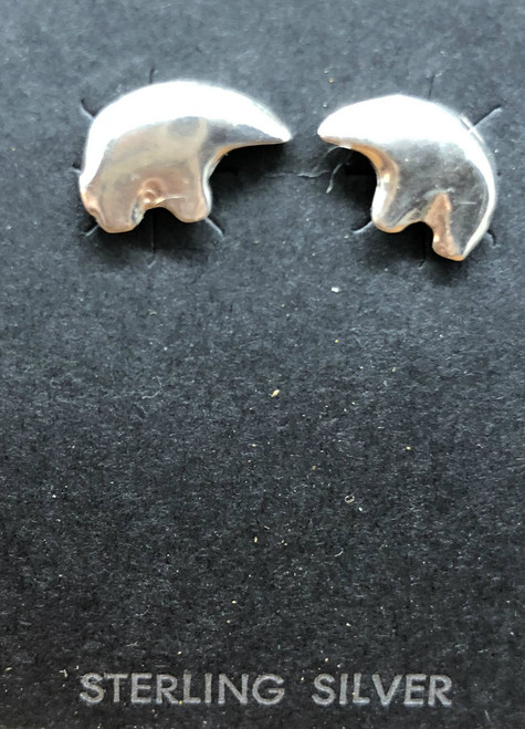 Tiny Sterling Silver Post Bear Earrings.