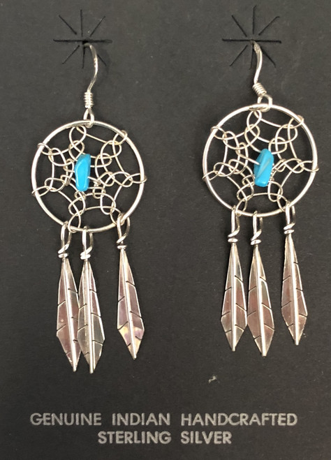 Sterling Silver Native Handmade Dreamcatcher Earrings with Turquoise Nugget.