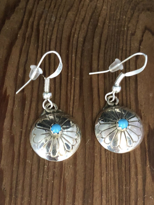 Sweet Concho drop earrings with Turquoise center.