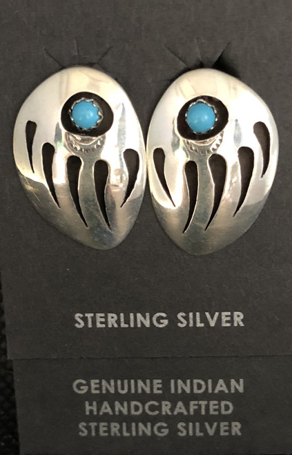 Large Sterling Silver Bear Paw Clip Earrings.