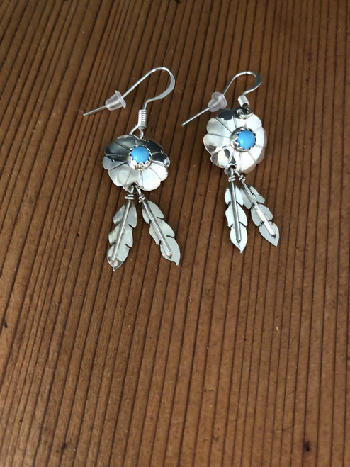 Sterling Silver Concho with Turquoise Stone in Center n 2 Feather drops
