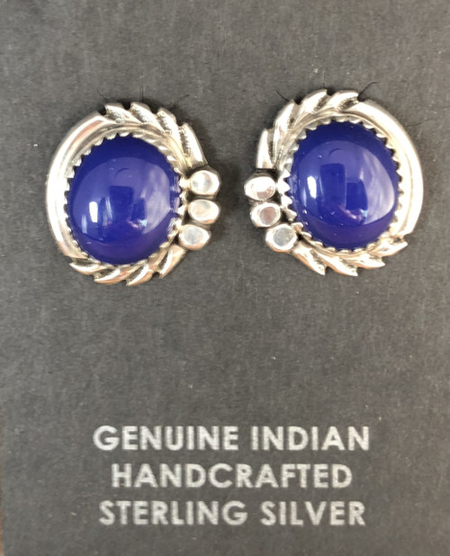 Oval Lapis Stud Earrings