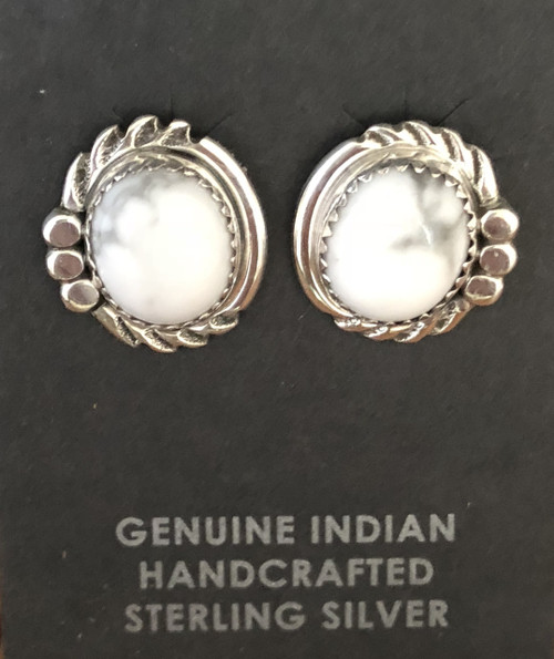 Howlite Oval Stud Earrings