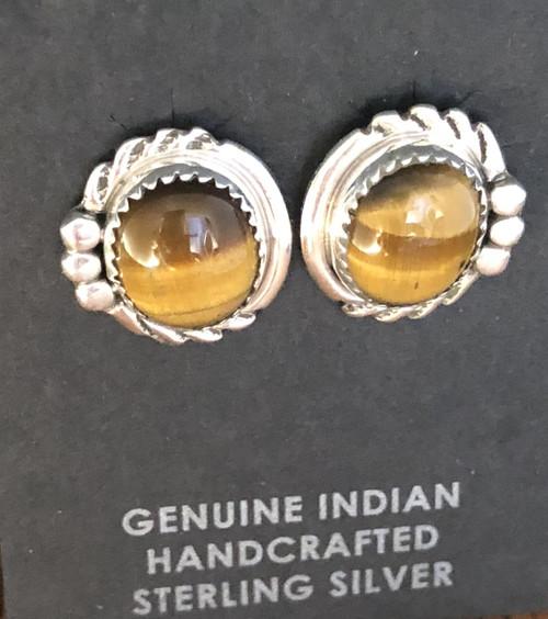 Tigers Eye Oval Stud Earring