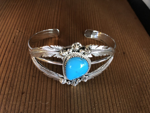 4 Feather Turquoise Cuff