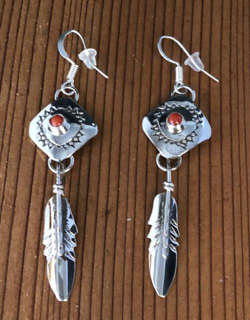 Stamped Sterling n Coral Drop Earrings