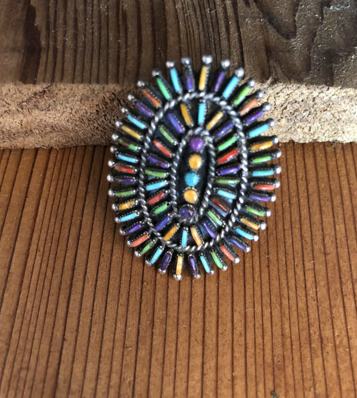 Multi Stone Needlepoint Ring