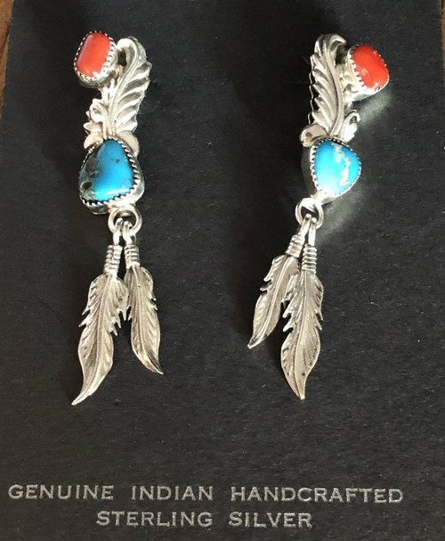 Turquoise n Coral Drop Earrings