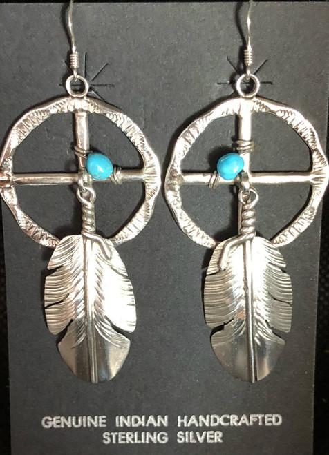 Large Sterling Silver Medicine Wheel Earrings