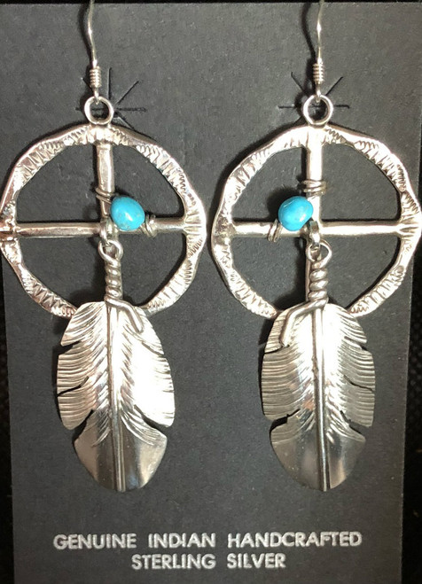 Large Sterling Silver Medicine Wheel Earrings