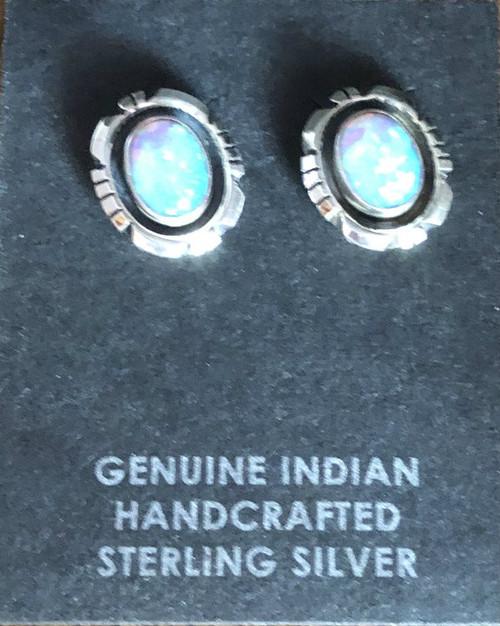 Blue Opal Post Earrings