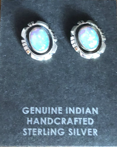 Blue Opal Post Earrings
