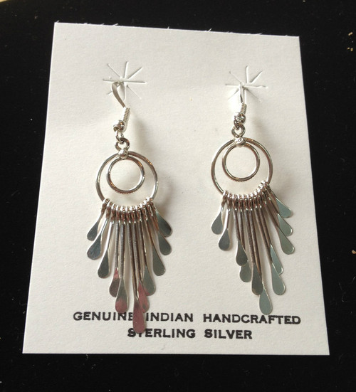 Sterling Silver Aztec Drop Earrings