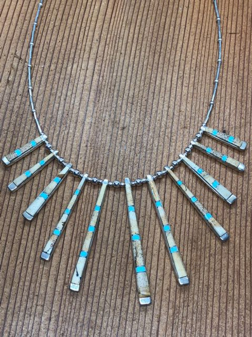 Inlayed Turquoise n Threaded Silver Necklace