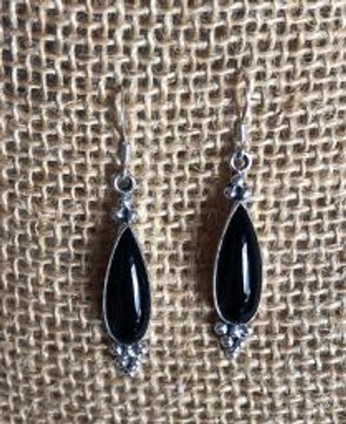Onyx Tear Drop Hook Earrings