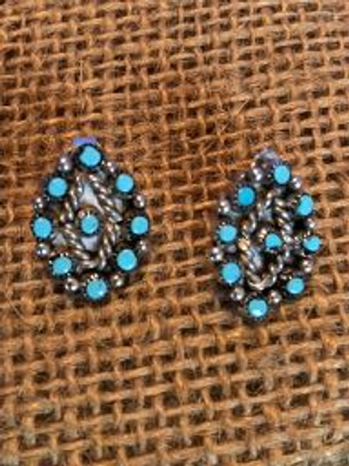 Zuni Turquoise Oval Cluster Earrings