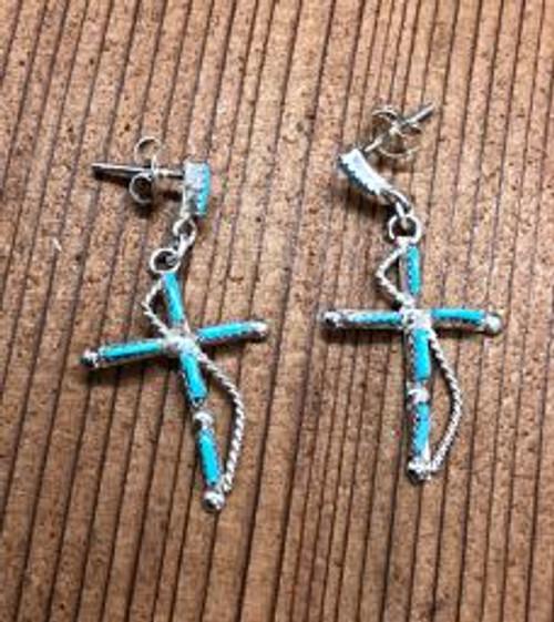Zuni Turquoise Drop Cross Earrings