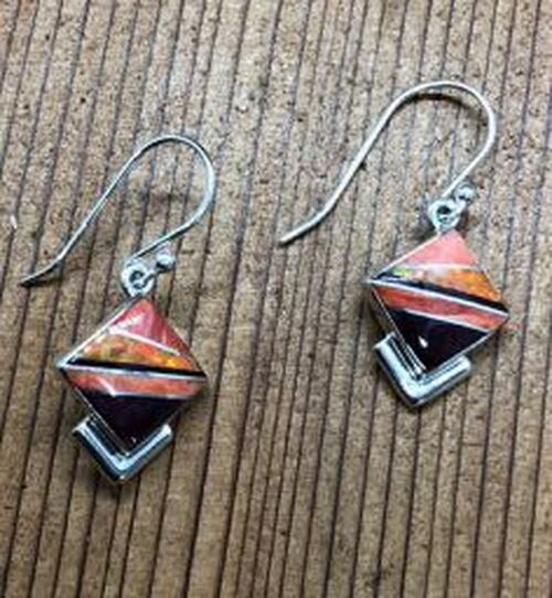 Inlayed Shell Opal Hook Earrings
