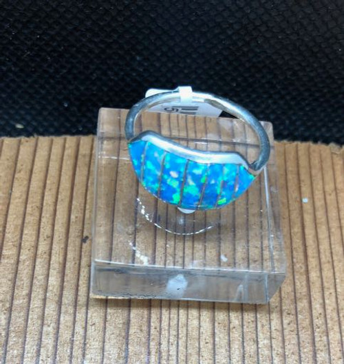 Petite Lab Opal Zuni Inlay Ring