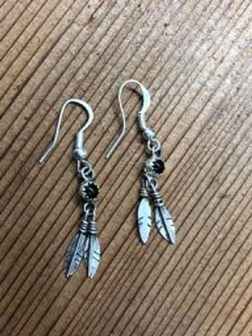 Onyx 2 Feather  Drop Earrings