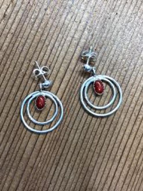 Coral Double Hooped Stud Earrings