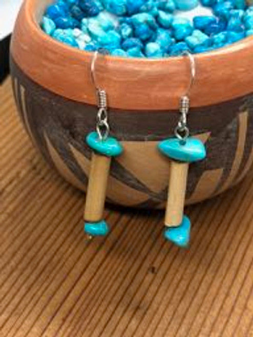 Bone Pipe n Turquoise Nugget Hook Earrings