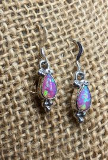 Teardrop Pink Opal Earrings