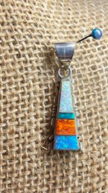 Multi Coloured  Inlay Opal Pendant