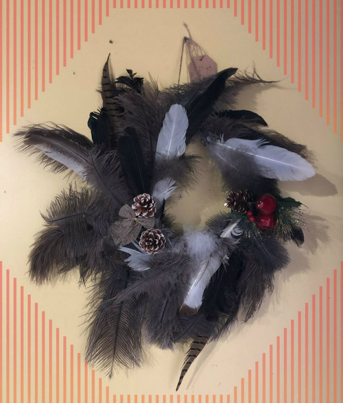 Ostrich feathers,pheasant feathers wreath.