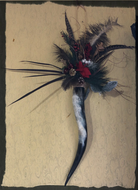 Texas longhorn decorated ostrich feather decoration.