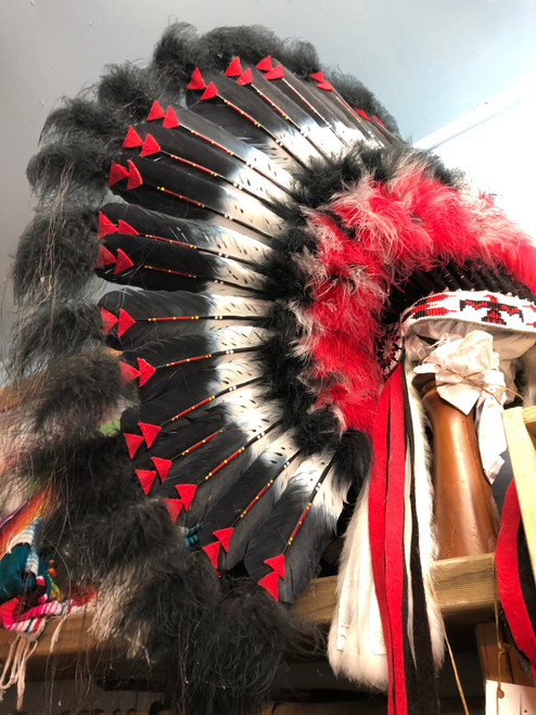 Genuine handmade reproduction,black,red n white full skull headdress.