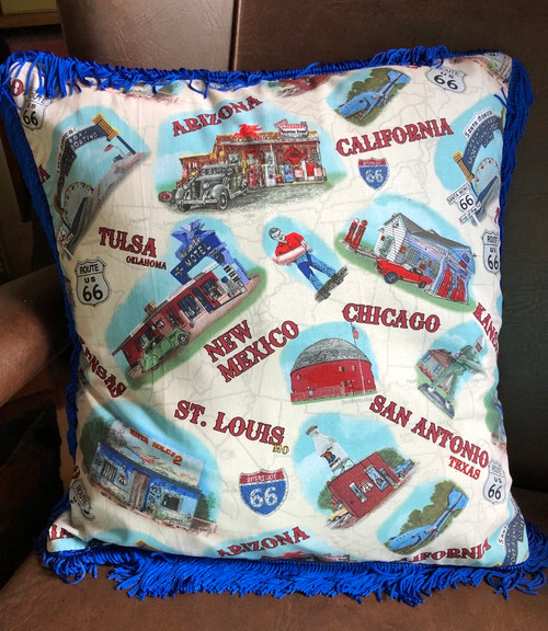 Blue Route 66 Cushion