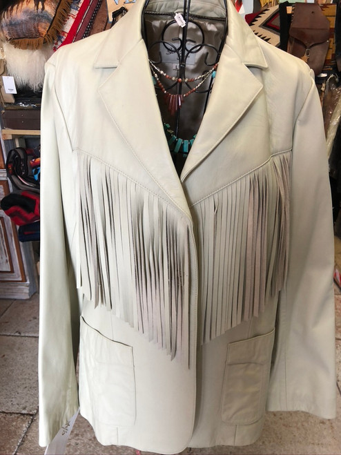 Fringed White Leather Ladies Jacket